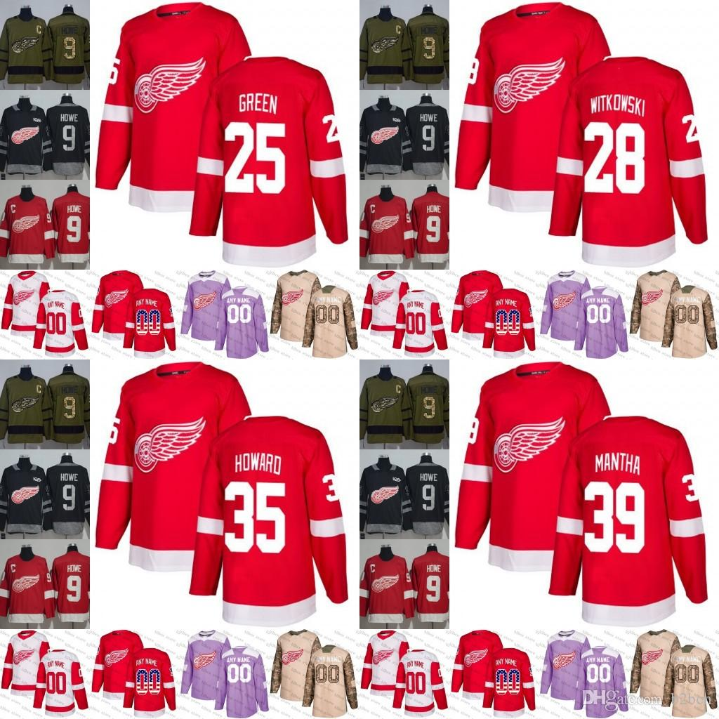 2019 2018 2019 Red Wings Mens Women Youth 25 Mike Green 28 Luke Witkowski  35 Jimmy Howard 39 Anthony Mantha Hockey Jersey Stitched S 3XL From B2bcn e4bcf4940