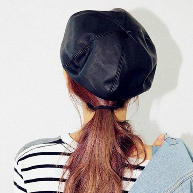 Compre 1 UNID Cuero Boina Sombreros Para Las Mujeres De Invierno Gorra  Plana Mujer Boina Feminina Moda Otoño Invierno Gorra De Boina Hueso Gorras  Pintor A ... ab2d12b84d0