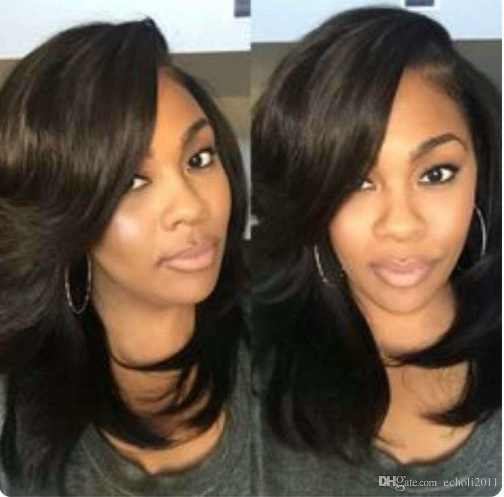Brazilian hair wavy bob human hair wigs for black women 250% density shor lace front wigs thick natural side bangs