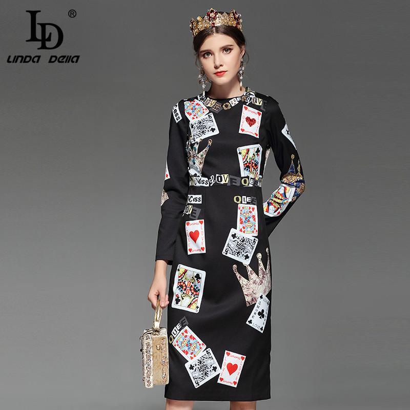 2999c22166ba Großhandel LD LINDA DELLA Mode Designer Runway Kleid Frauen Langarm  Elegantes Büro Spielkarten Drucken Sicke Schwarz Vintage Kleid Von Bishops,  ...
