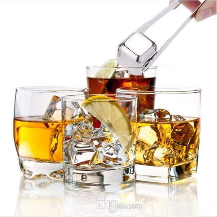 Stainless Steel Ice Cubes Bucket Bar KTV Magic Vodka Whiskey Stone Wine Whisky Beer Cooler Holder Chiller Tool b236