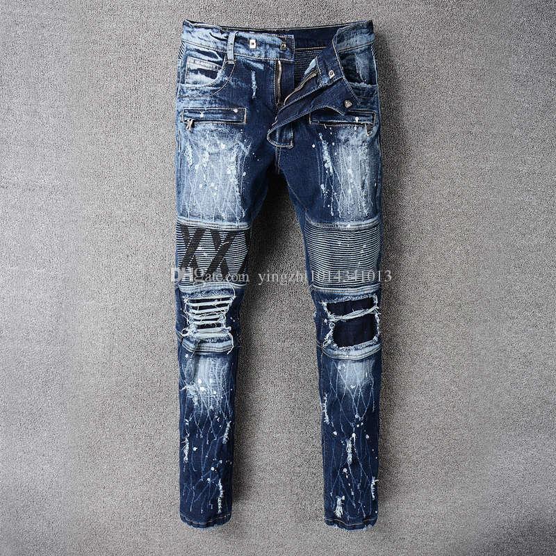 8656fbb737ab High Street Fashion Klassische Männer Robin Jeans Motorrad Hosen Blaue  Farbe Zerstört Biker Jeans Homme Designer Marke Zerrissene Jeans Für Männer