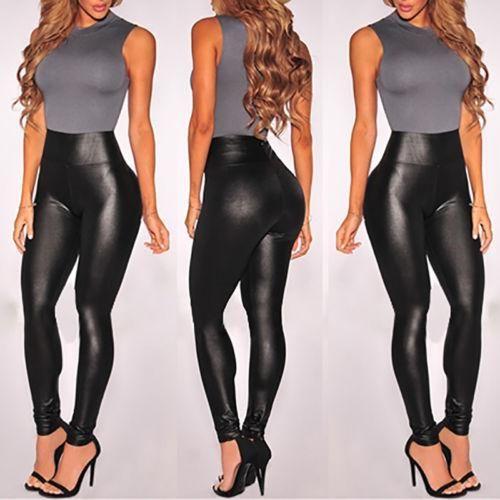 122d18771d Compre 2018 Mujeres Sexy Señoras Negro Cintura Alta PU Wet Look ...