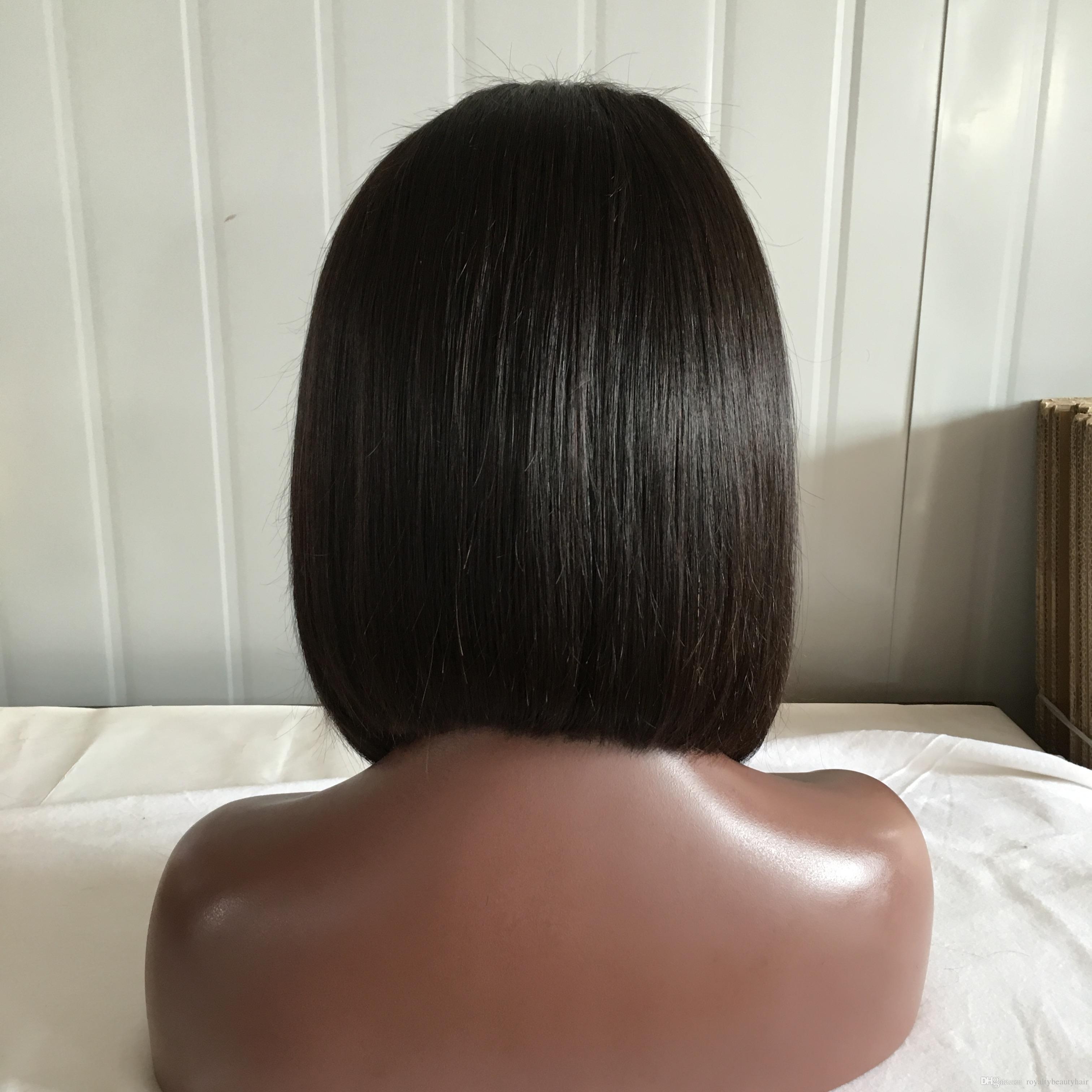 9A Ön Koparıp İnsan Saç Peruk Bebek Saç İpeksi Düz Brezilyalı Bakire Dantel Ön Bob Peruk Siyah Kadınlar Için Dantel Frontal Peruk APP-onl