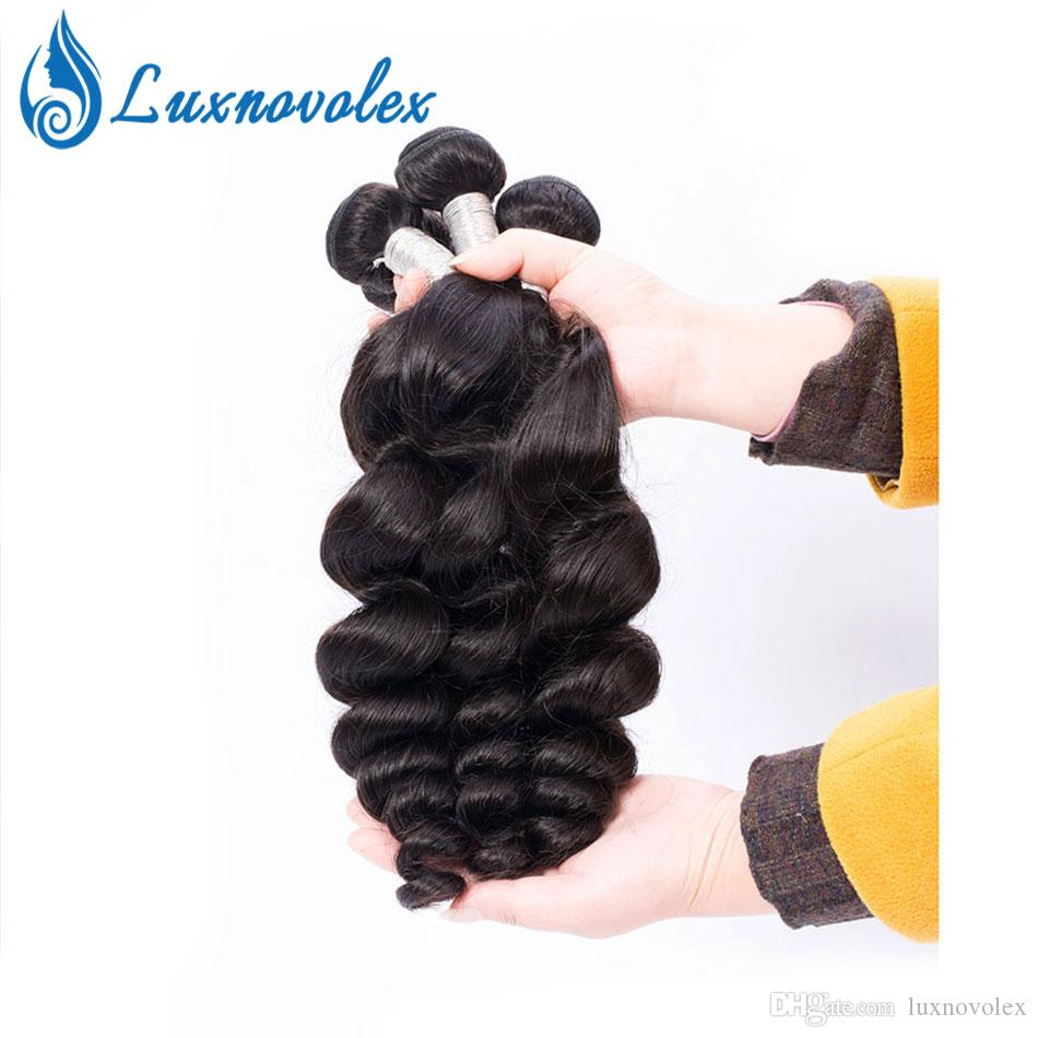 Brazilian Human Hair Head Head Surdo Onda 3 Pacotes Não Transformados Brasileiro Virgem Cabelo Solto Onda Pacotes Extensões de Cabelo Cor Natural
