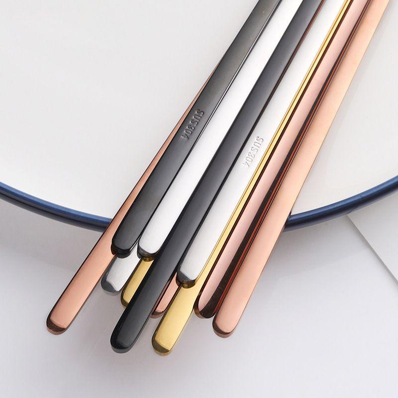 Baguettes plates solides en acier inoxydable 304 de haute qualité Baguettes multicolores anti-dérapantes Miroir poli baguettes carrées pointues