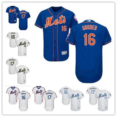 quality design 9e420 8fa20 custom Men women youth Majestic NY Mets Jersey #17 Keith Hernandez 16  Dwight Gooden Home Blue Grey White Kids Girls Baseball Jerseys