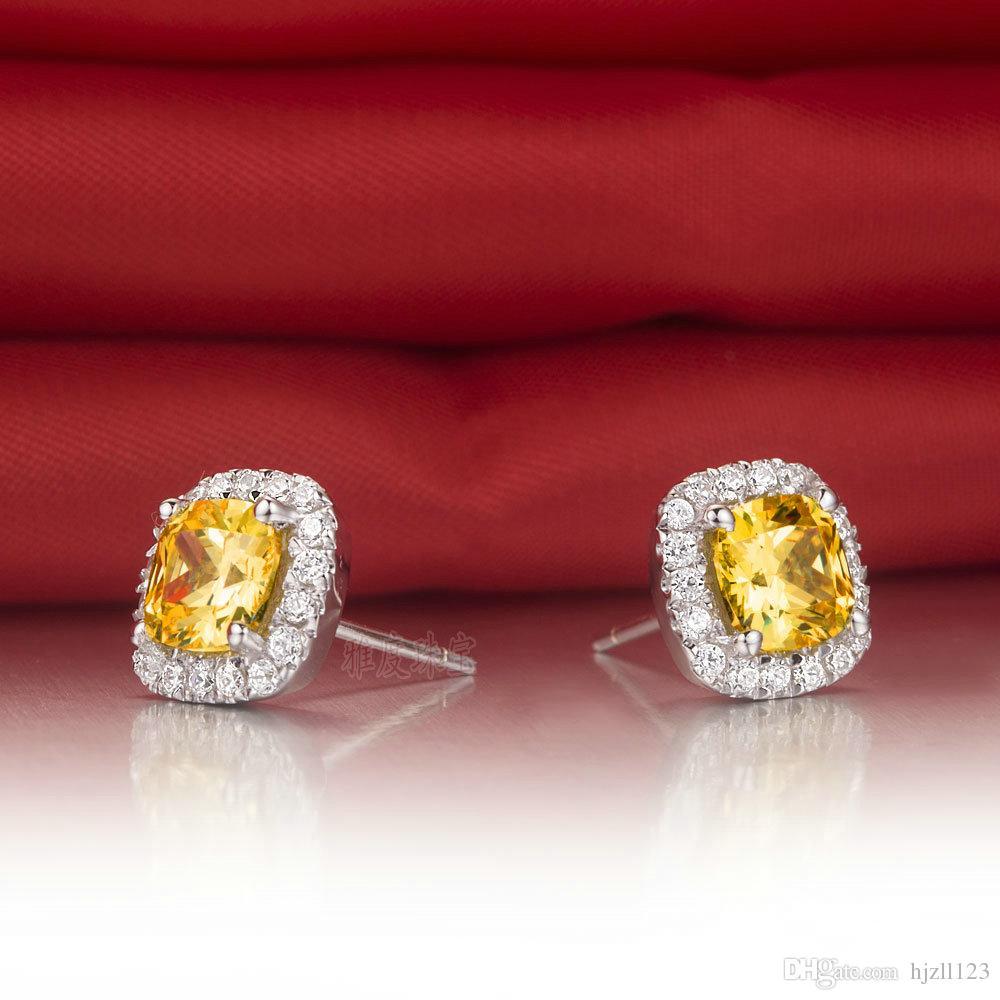 Drop Shipping 2 ct / çifti Prenses kare kesim Altın sentetik elmas küpe kadınlar için düğün nişan küpe 18 K Beyaz Altın Kaplama