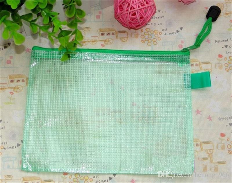 Gridding Waterproof Zip Bag Document Pen Filing Products Storage Pocket Foldable PVC Material File Supplies Hot Sale 1 55zt Z