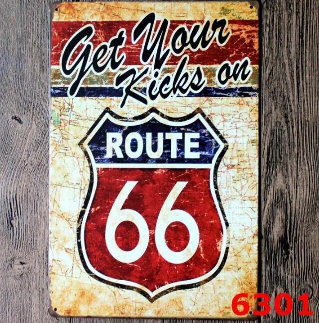 Acheter 2019 Metal Vintage Tin Signes Pour Mur Decor Route 66 Fer
