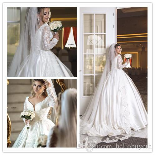 998c62f800 2019 Lace Ball Gown Wedding Dresses Bridal Gowns Bling Long Train Wedding  Gowns Princess Dubai Sale With Veil Dress Wedding Formal Evening Gowns From  ...