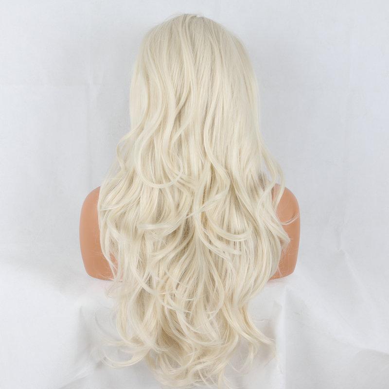 Dantel Ön Peruk sarışın kahverengi karışık ombre ipeksi düz sentetik dantel ön peruk için natuarl tutkalsız isıya dayanıklı fiber saç kadın