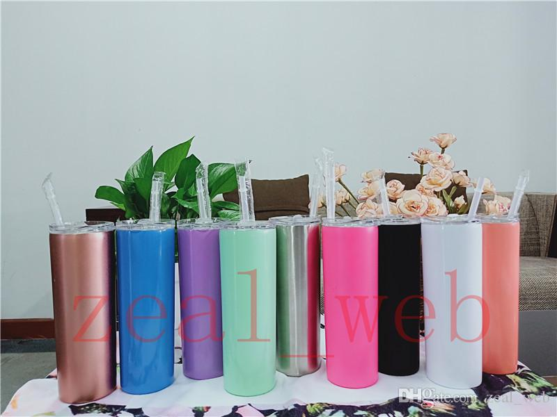 IN STOCK 20oz Skinny Tumbler Stainless Steel straight tumbler sippy cup with slid Lid and clear Straw Vacuum Insulated cup