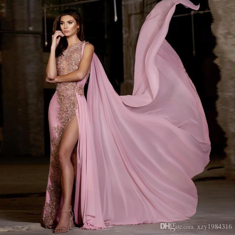 Sexy Split Mermaid Prom Dress With Chiffon Wrap See Through Beads ...