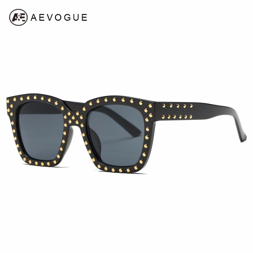 6f4213b8e00a8 AEVOGUE Sunglasses Women Steampunk Brand Designer Rivets Decoration Acetate  Frame Mirror Lens Sun Glasses With Box AE0488 Eyeglasses Sunglasses Hut  From ...