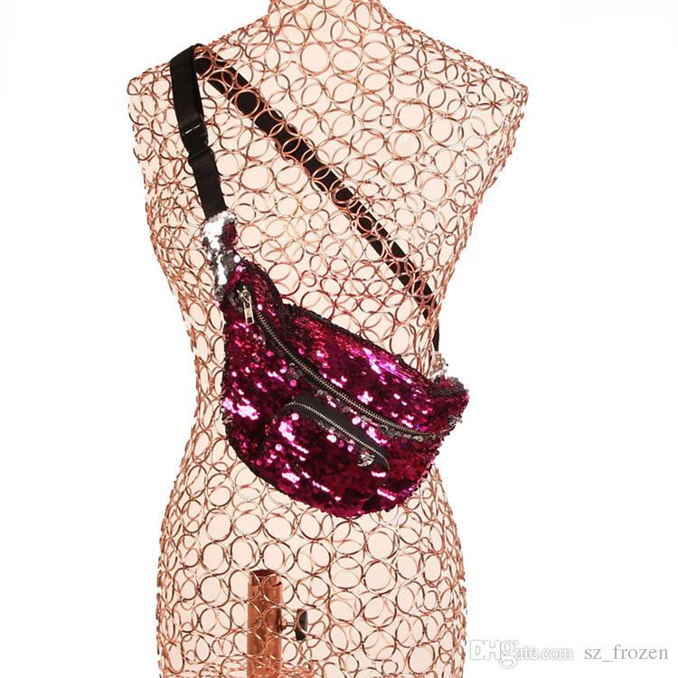 Paillettes pacchetto di Fanny glitter borsa paillettes Mezzo Borse Pocket Crossbody Trousse trucco Tote Bag Borsa di stoccaggio libera la nave A-0561