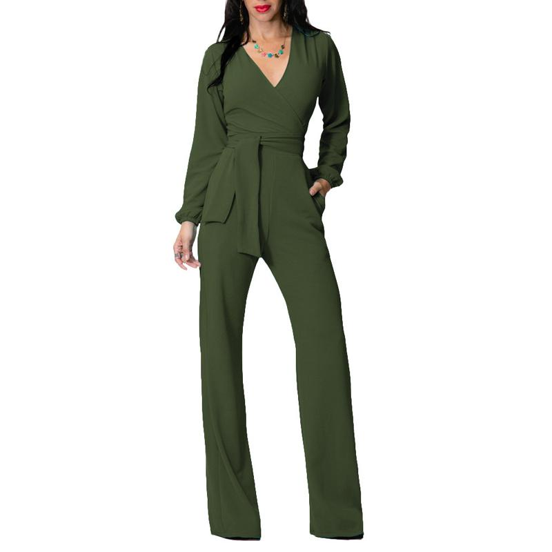 0784851204bb 2019 Jumpsuit Women 2018 Spring Long Sleeve Sexy V Neck Rompers Blue Green  Black Elegant Office Work Tunic Wide Leg Overalls Outfit From Worsted