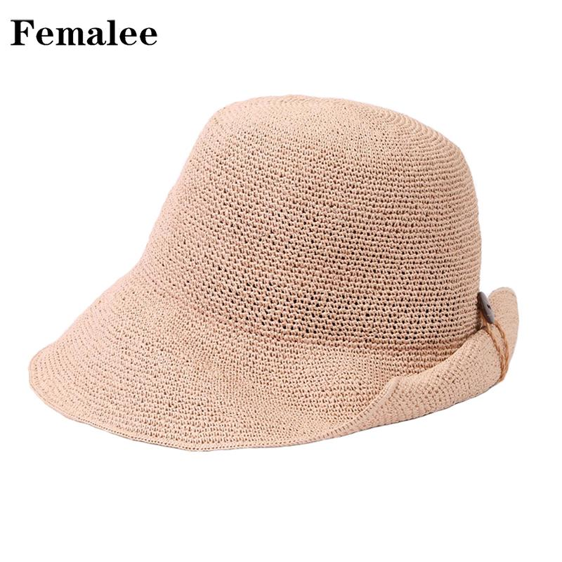 FEMALEE Summer Women Straw Bucket Hat EleLadies Ribbons Bow Wide Brim  Sunshine Beach Cap Holiday 2018 New Vacation Sun Hats Straw Cowboy Hats Sun  Hats For ... 733c2dd24d8e