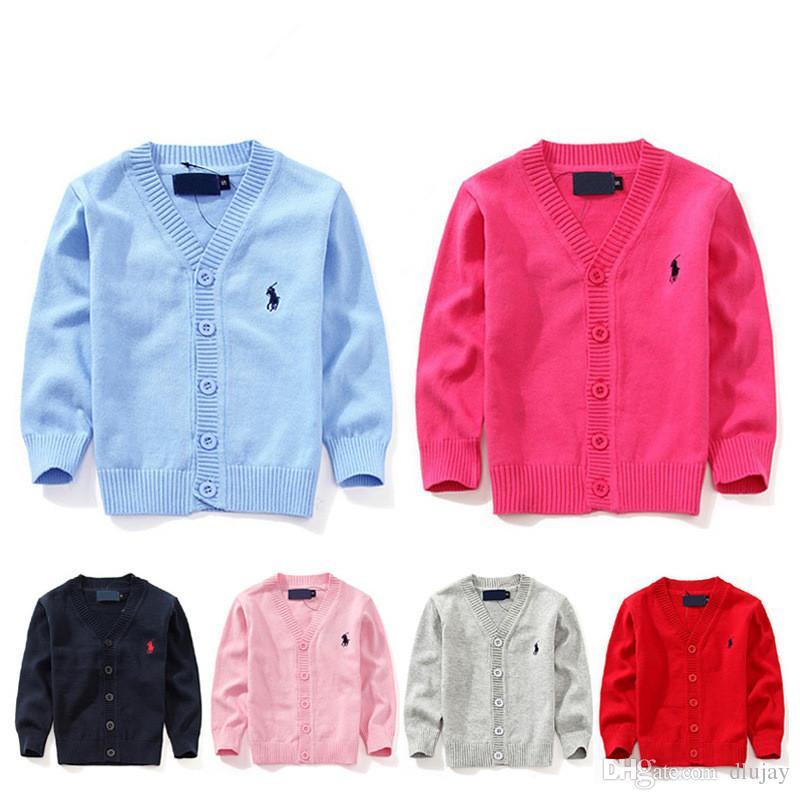 5eea976c9 2019 Fashion New Kids Sweater Autumn Children Polo Cardigan Coat ...