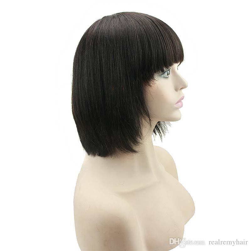 Pre Plucked Short Human Hair Wigs For Black Women Straight Lace Front Bob Wigs With Bangs Cheap Brazilian Virgin Lace Front Wigs