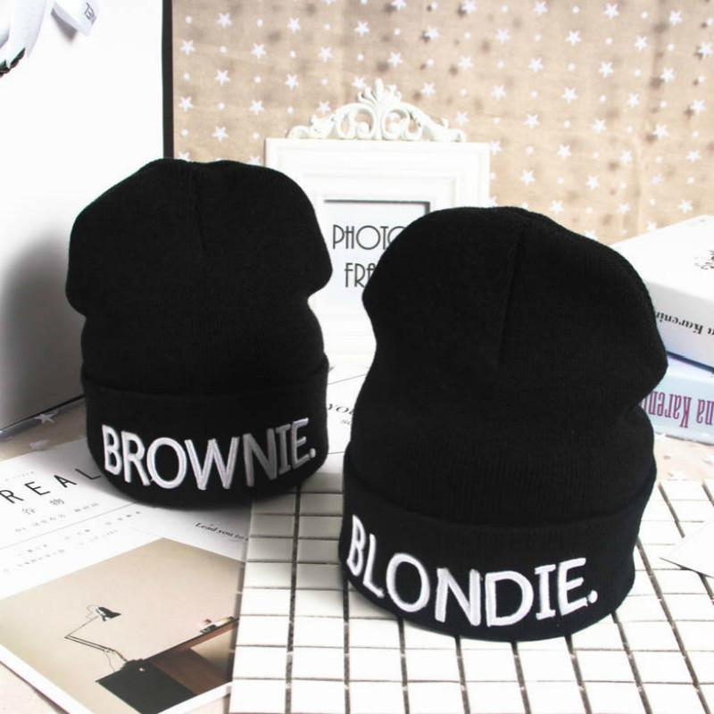 0cce0d6da08 Hot Sale Beanies Hat Adults Warm Knit Hat Embroidery For BLONDIE ...