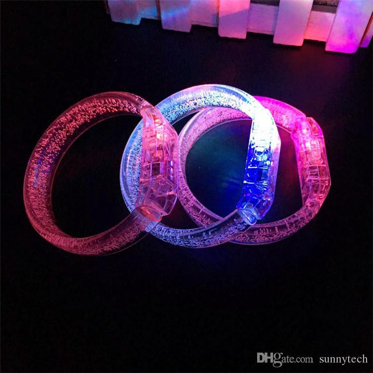 2019 Led Favores de la boda Venta Directa Led Multi Color Bubble Flashing Light Up Glow Fashion Rave Partido Pulsera Brazalete LX0037