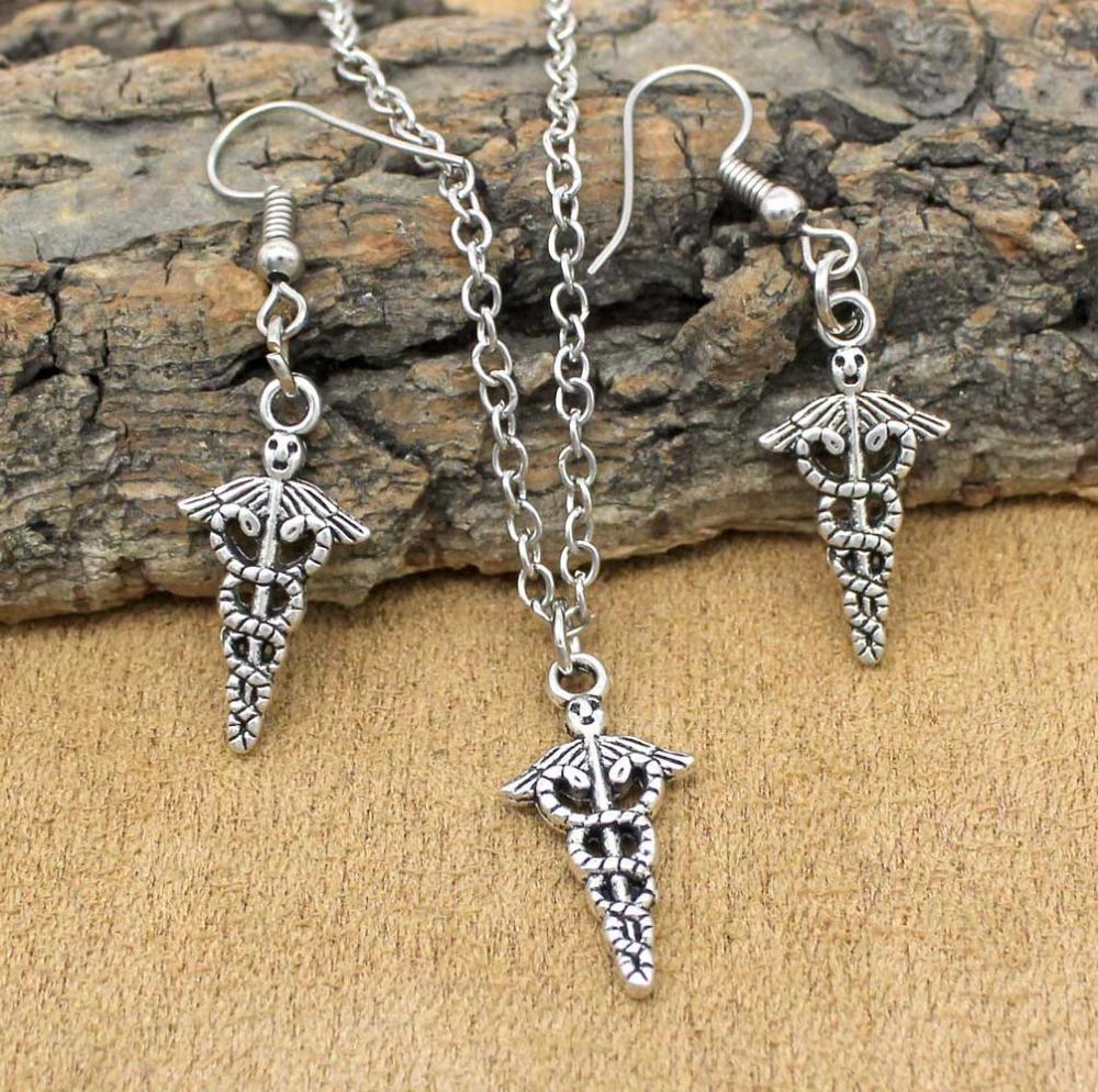 2018 Trendy Popular Jewelry Sets Caduceus Medical Symbol Necklace