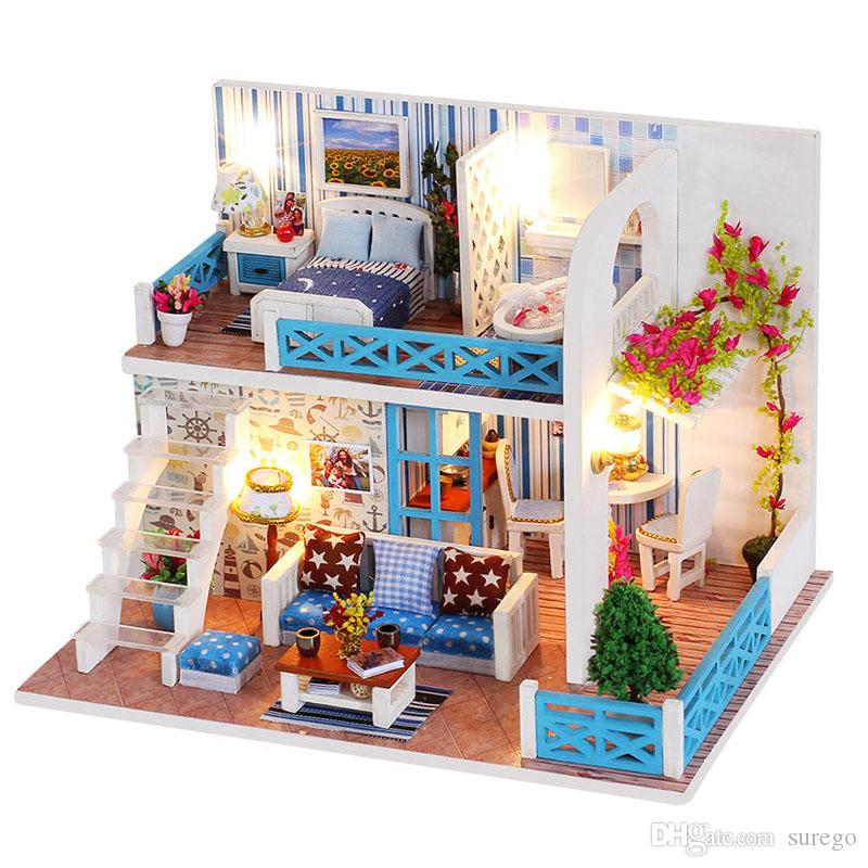 Magnificent Diy Doll House Seaside Villa Miniature Small Wooden Room Box Dollhouse Home Souvenirs Cottages For Doll Building Toy For Children Download Free Architecture Designs Rallybritishbridgeorg