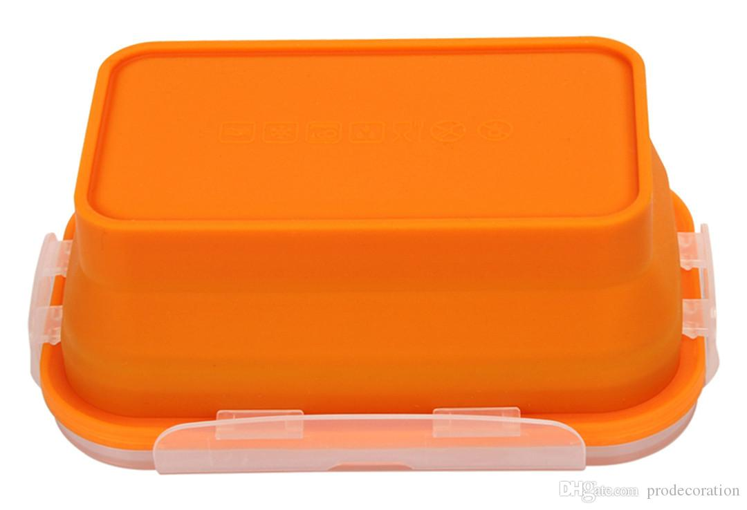 New Creative Big Bento Box Set Silicone Portable Lunch Box Folding Microwave Dinnerware /Sets Food Crisper Kitchen Storage