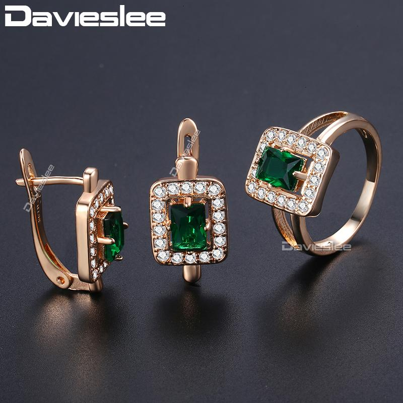 3ca67b84a 2019 Davieslee Square Green Stone Stud Earring Ring Set For Women 585 Rose  Gold Filled Paved Clear Cubic Zirconia Jewelry Sets DGE141 From Ylingnei,  ...
