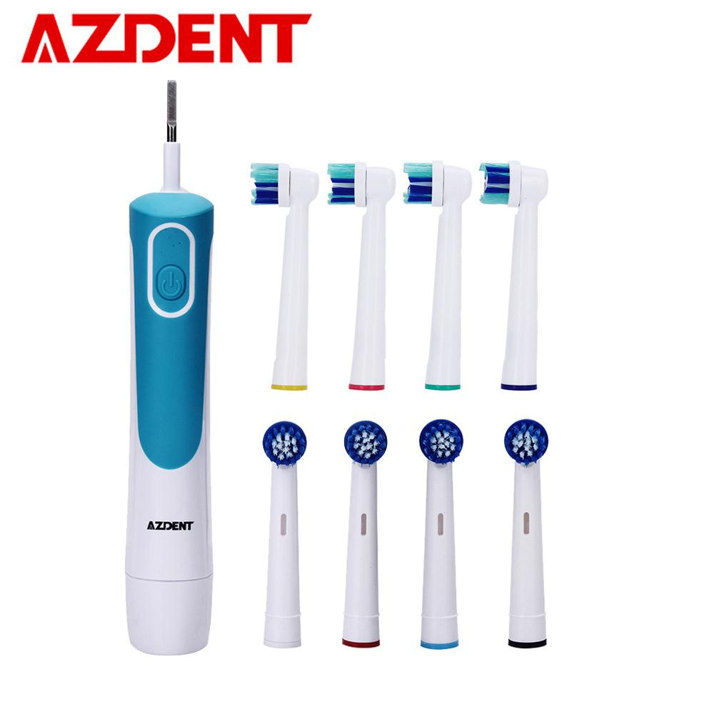 Azdent Fashion Electric Toothbrush Rotary Tooth Brush Aa Battery Power Deep Clean No Rechargeable With 4 Replacement Teeth Heads Home Appliances Electric Toothbrushes