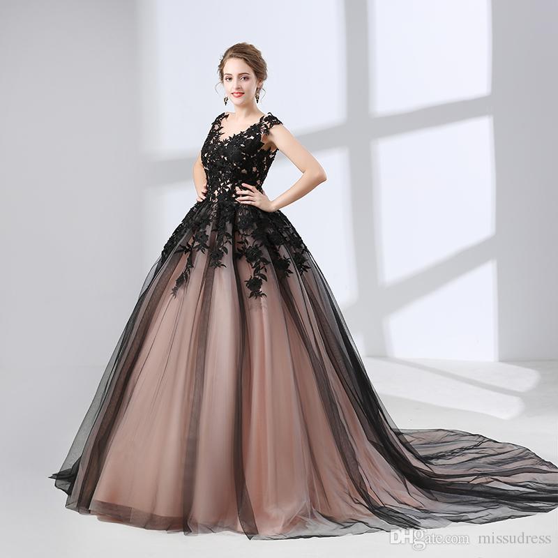 Black Wedding Dresses Ball Gown Appliques Elegant Puffy