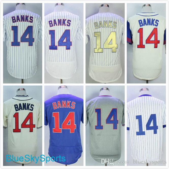 02c19622a Men s Ernie Banks Jersey White Program Cream 1929 1942 Gray Blue ...