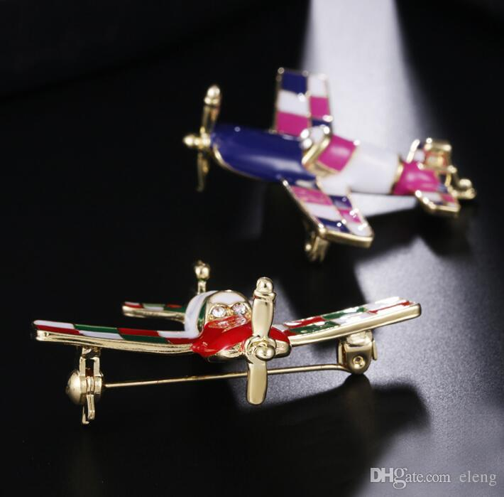 2018 United States Cute girl diamond plane Brooch brooches rhinestone Clothing accessories Pins Party Prom Women pin 51