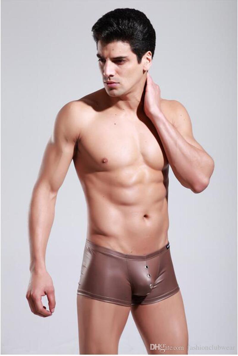 es de moda de los hombres de cuero de imitación boxer shorts sexy vendaje bragas respirable agujero calzoncillos hombres frescos ropa interior ropa interior