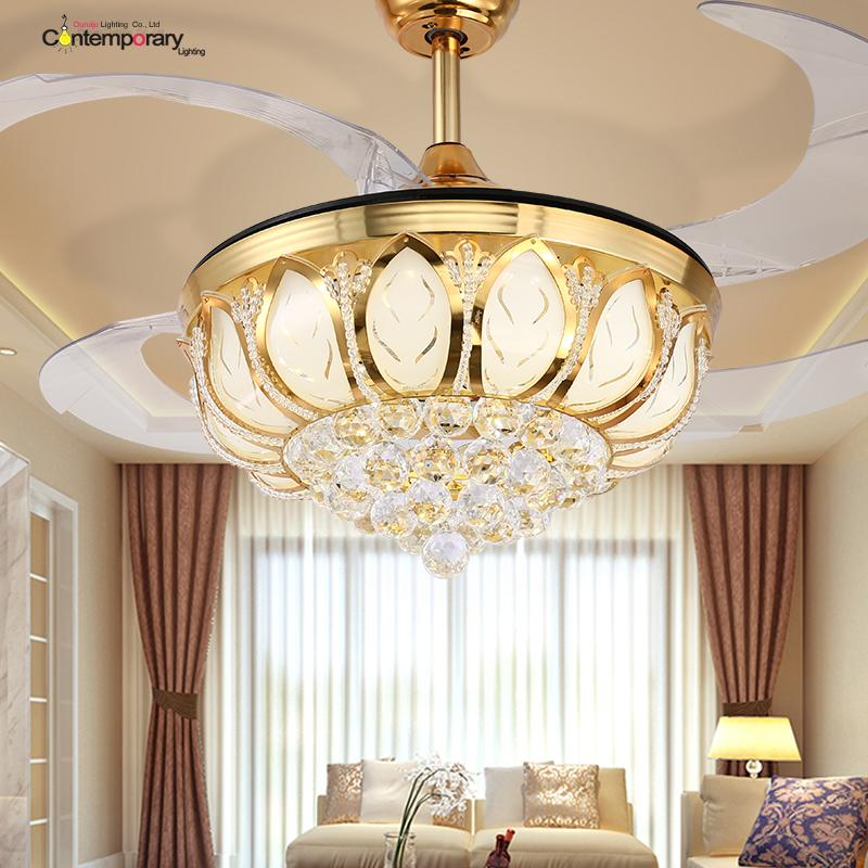2018 Ouruiju Ceiling Fan Crystal Hanging Modern Light Folding Ventilador De Teto Dining Room Remote Control From Happylights