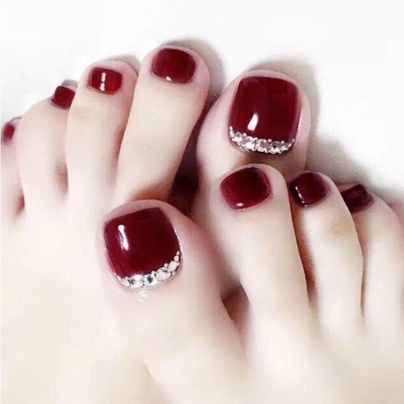 24pcs/Set Pretty Rhinestone Toes False Nails Pre-designed Summer Beach Red  Foot Nail Art Tips Handmade Fake nails with Glue