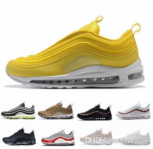 huge discount d0d6b b4f1c Compre 2018 New Nike Air Max 97 OG Zapatillas Para Hombres Mujeres Invicto  Silver Bullet Air Cushion Amarillo Triple Blanco Negro Zapatillas De  Deporte 97s ...