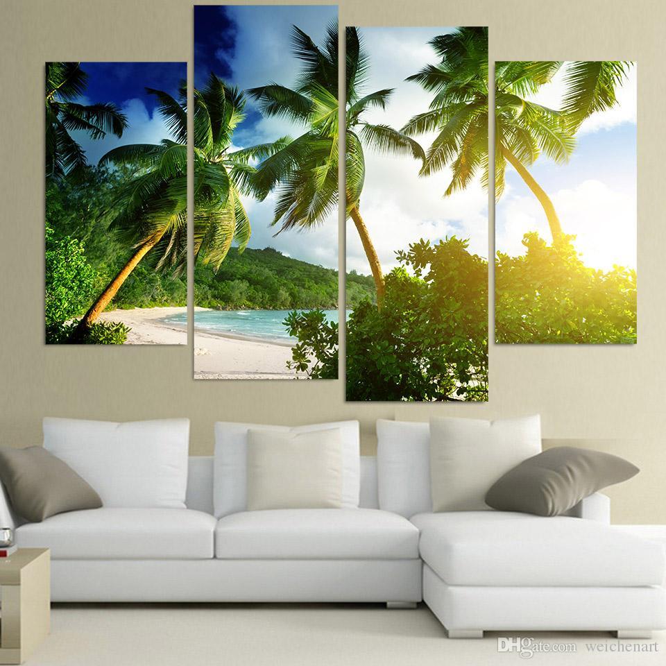 Salon Tropikal Palmy Ağaçları HD Baskılı Duvar Sanatı Ev Dekorasyonu Poster Duvar Resimleri Boyama 4 Adet Tuval Sanat Tuval