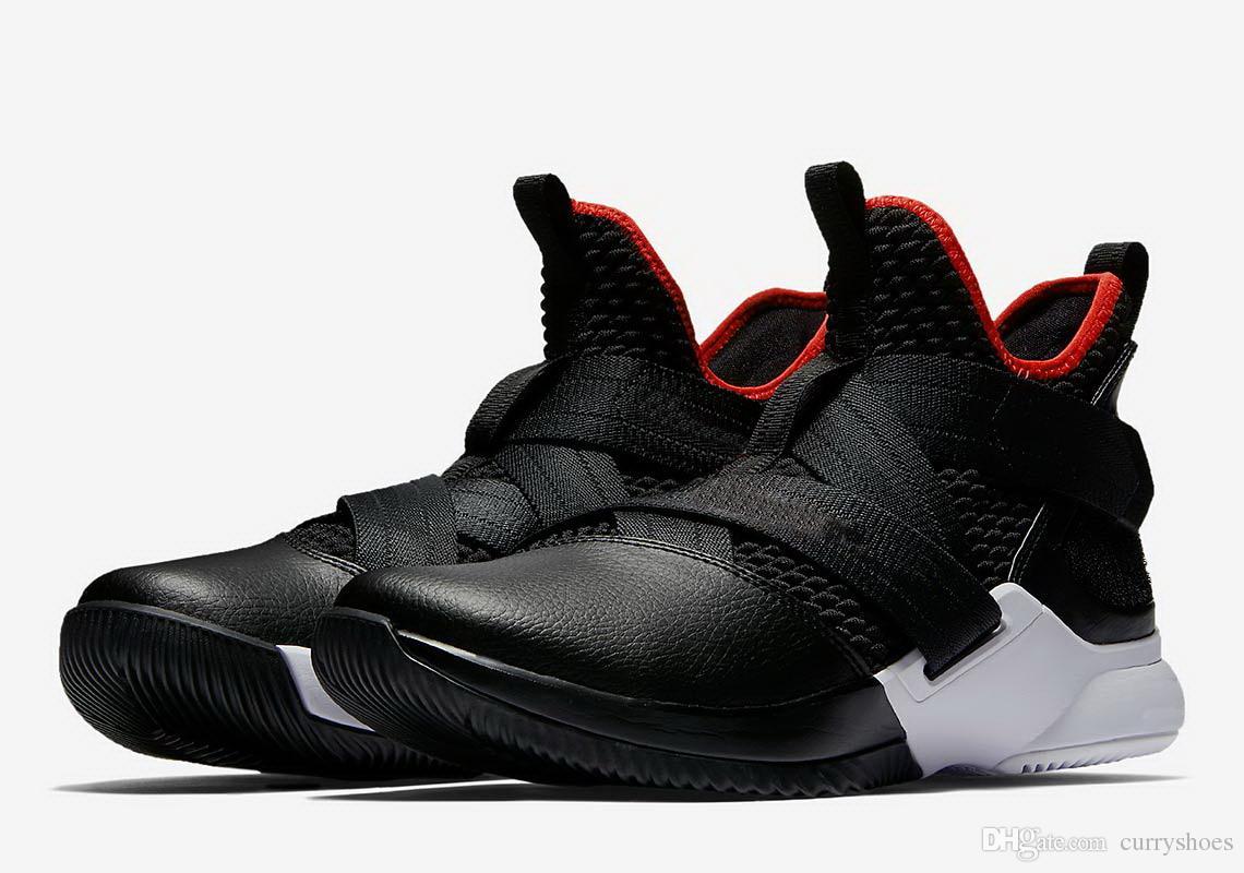 2857ff0244a9 Großhandel Beste LeBron Soldier 12 Bred Schuhe Zum Verkauf Kostenloser  Versand James 15 Black Red Basketball Schuhe Shop US4 US12 Von Curryshoes