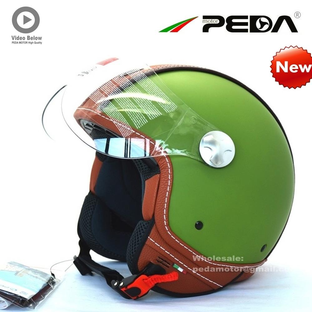 (2018) PEDA Italian ECE DOT motorcycle helmet Unisex Open Face Cascos Jet helm Vintage Leather electric Scooter cascque Retro