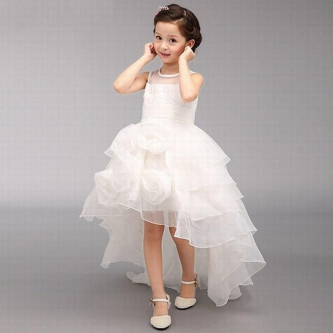 Lovely High Low Ball Gown Kids Wedding Party Prom Gowns Princess ...