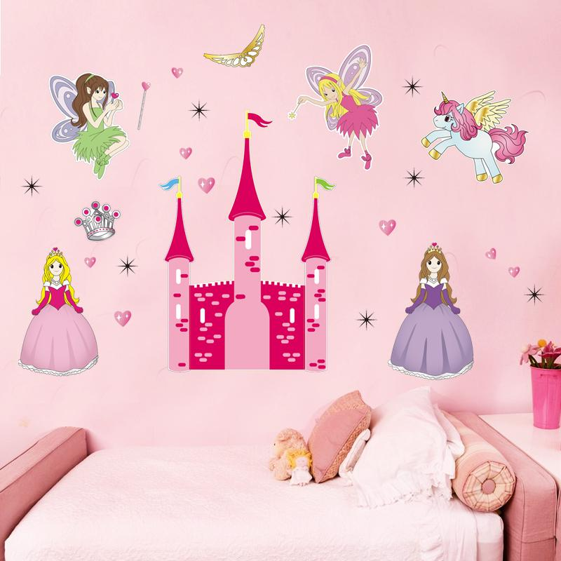 princess castle heart horse angel wall stickers for kids room