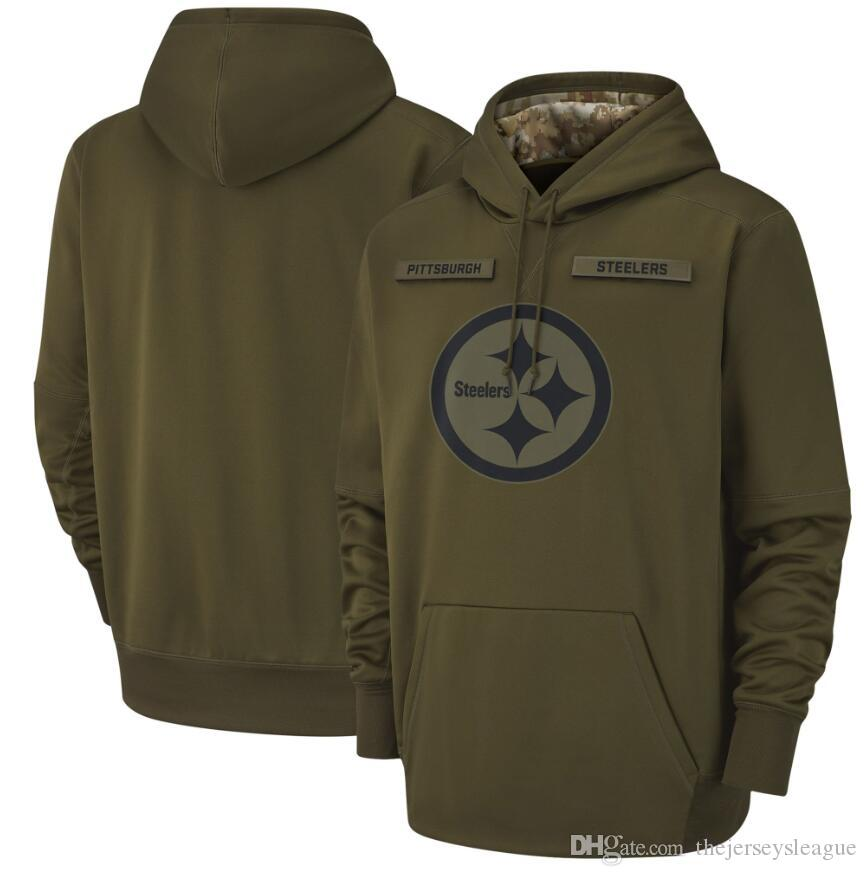 the best attitude a9796 ad6e6 2018 Men Pittsburgh Sweatshirt Steelers Salute to Service Sideline Therma  Performance Pullover Hoodie Olive