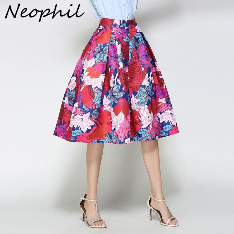 b85f14d8f Neophil 2018 Señoras del verano Elegante Pájaro Floral Hojas Imprimir  Plisado Faldas Rojas de Cintura Alta Vestido de Bola Patinador Mujeres Saia  ...