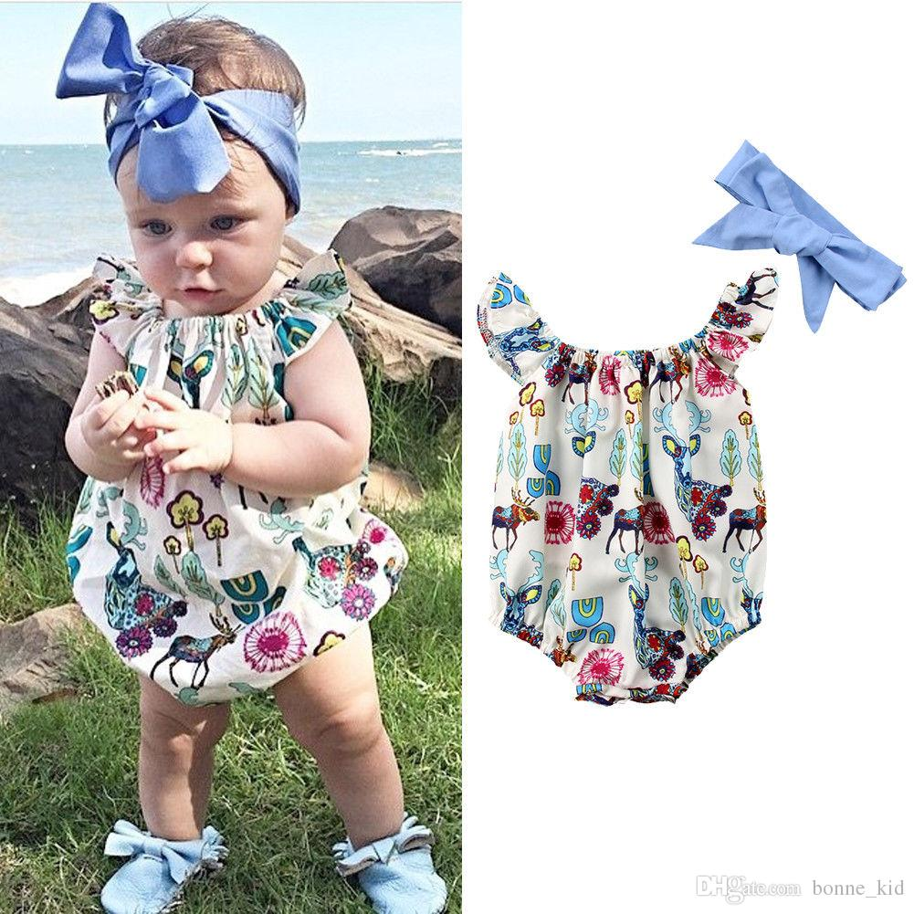 2f40ddbc7ddf 2019 Newborn Baby Girl Flower Deer Romper Jumpsuit With Headband Kid  Clothing Girls Adorable Floral Bodysuit Sunsuit Playsuit Toddler Onesies  From Bonne kid ...