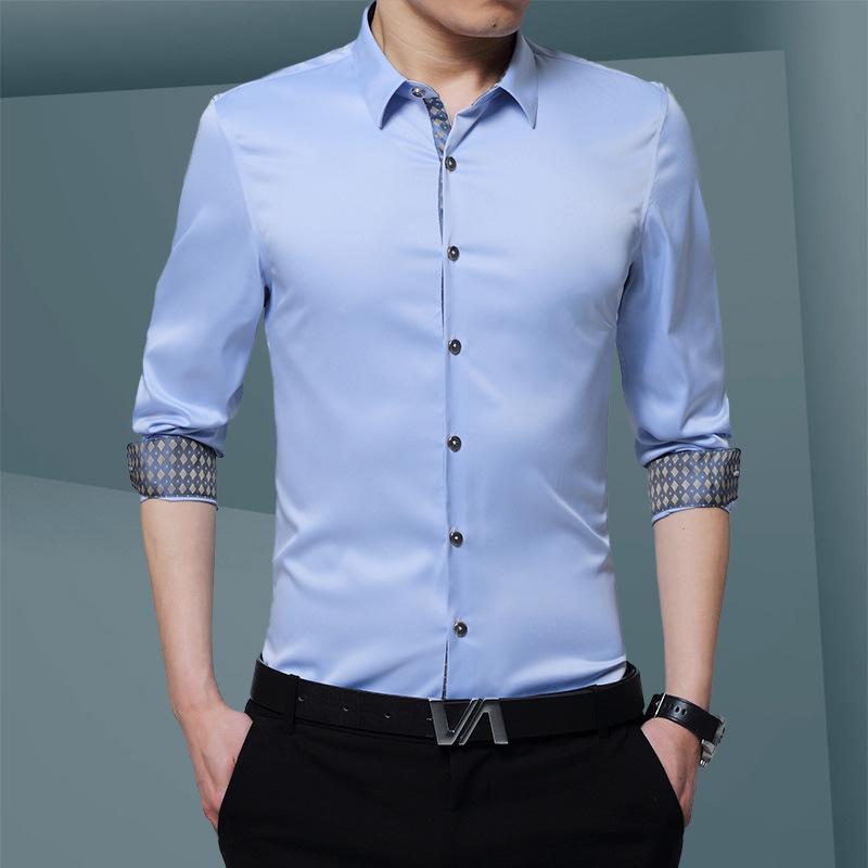 a03b13b042b 2019 4XL Men Dress Shirts Brand Clothing Fashion Camisa Social Casual Men  Shirt Slim Fit Long Sleeve Camisa Masculina From Xunmi