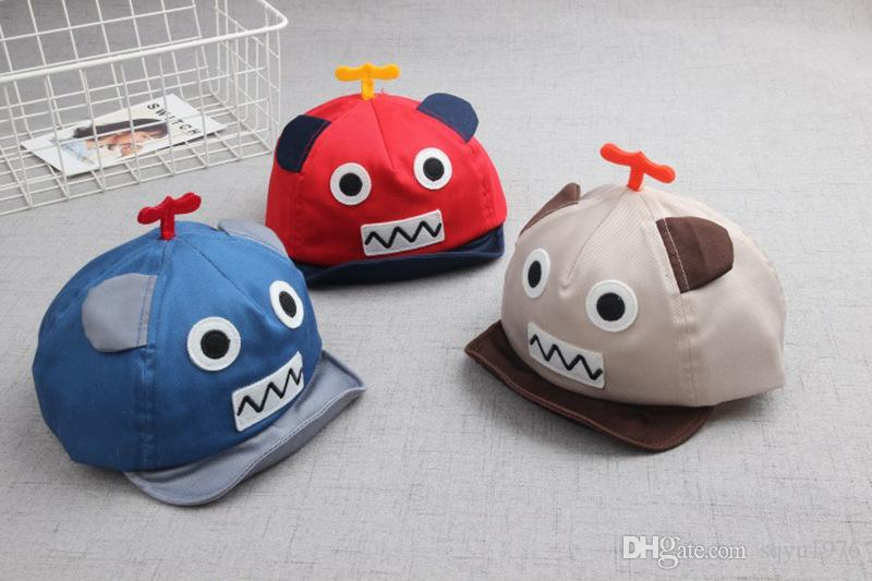 Spring baby soft baseball cap along the children's cartoon robot hat cool hat