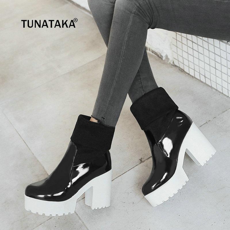 398b87da Compre Ladies New Comfort Tacones Gruesos Botines De Plataforma  Deslizamiento De Moda En Punta Redonda Otoño Invierno Zapatos Mujer Negro  Blanco A $51.25 ...