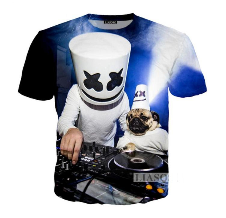 New Fashion Men Women Casual T Shirts Cartoon Dj Singer Marshmello Funny 3d Print Shirt Tops Tees Dx177 Novelty Tee From Dunhuang1968